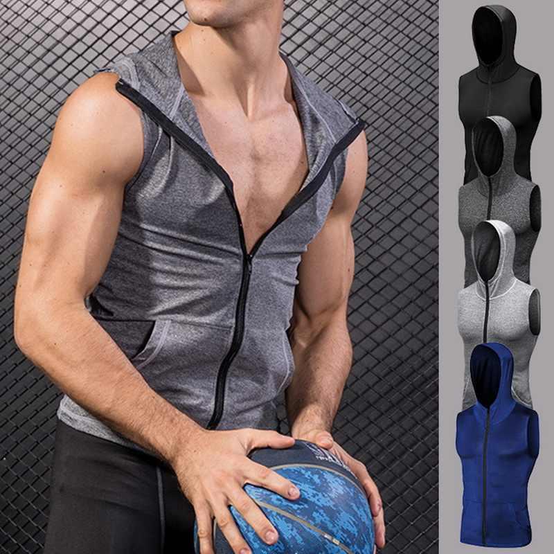 2018 Для мужчин Сжатие: рубашка с застежкой на молнии Спортивная футболка Бег спортивные, облегающие платья без рукавов с капюшоном топ, футболка одежда для бега спортивная одежда