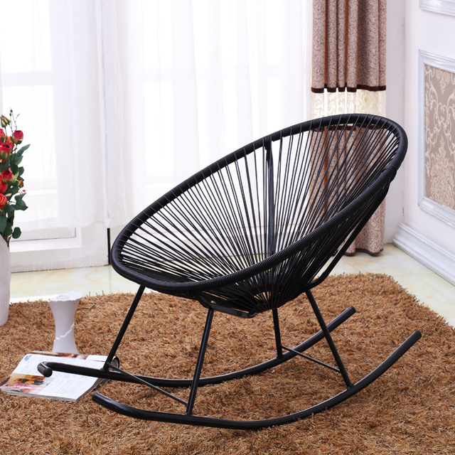 Woven Rocking Chair Indoor Wicker Dining Chairs Modern Acapulco Outdoor Adult Furniture Basket Patio Benches Garden Rattan Rocker Porch Seat