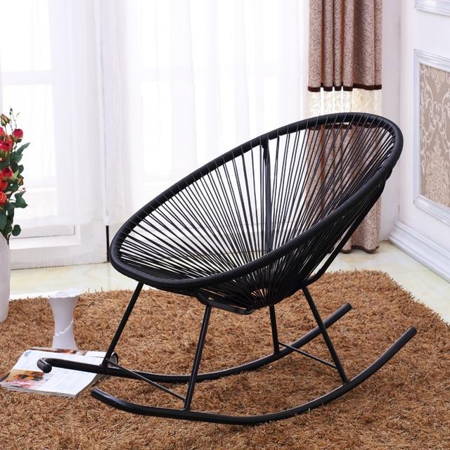 Modern Acapulco Indoor/Outdoor Adult Rocking Chair Furniture Woven Basket  Patio Benches Garden Chair Rattan