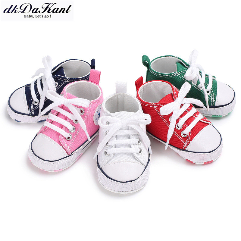 dkDaKanl Baby Shoes Spring Summer Baby Lace Canvas Shoes Soft Bottom Comfortable Toddler Shoes FF245 R(China)