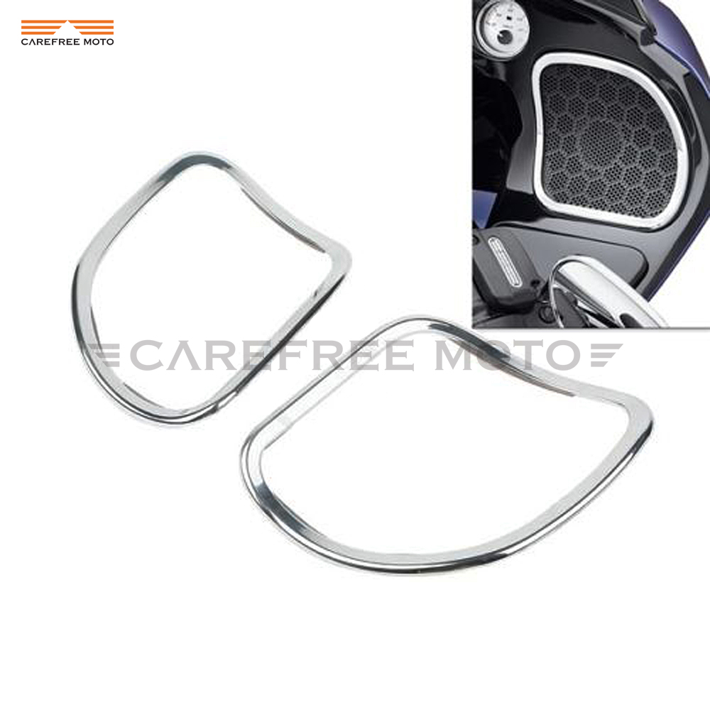 Chrome Motorcycle Front Speaker Trim Case for Harley Davidson Touring Road Glide 2015 2016