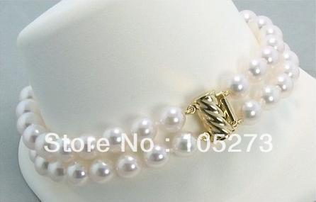 Nouveau Arriver AA + 6.5-7 MM 2 rangées blanc perle d'eau douce Bracelet 7.5 ''mode perle bijoux en gros nouvelle livraison gratuite