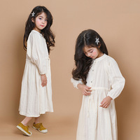 Girl Autumn Spring 2019 Girl Teenage Clothes Dresses White Beige Children Clothing School Maxi Long Cotton Toddler Dress Girl