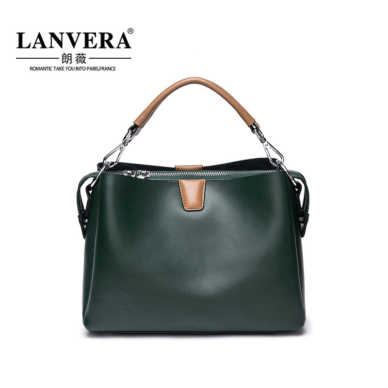 New Handbag Women Shoulder Bag Female Quality Genuine Leather Vintage Solid Color Casual Large Tote Bags High Ladies Handbag women vintage composite bag genuine leather handbag luxury brand women bag casual tote bags high quality shoulder bag new c325