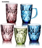 2Pcs/set Heat resistant Lead free Crystal Cups Colorful glass Whiskey Glass Beer Glass Wine Cup Creative Bar Hotel Drinking Ware