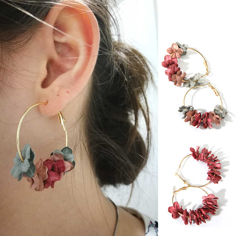 Fashion Hoop Earrings For Women Fabric Flower Petal Alloy Circle Round Pendientes Big Earrings Female Jewelry 2018 Brincos