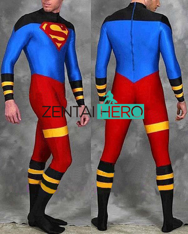 Free Shipping Adult Super Body Cosplay Costume Lycra Spandex Superman Costume Zentai Catsuit Halloween Superhero Costume For Men