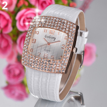 Hot Sales Womens Luxury Square Shiny Crystal Rhinestones Faux Leather Analog Wrist Watch 5HZB