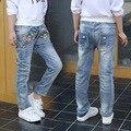 Novo Jeans Menina Casual Floral Impressão Denim Calças Infantis Calças de cintura Elástica Jeans Reta Nova Moda Crianças Denim Calças