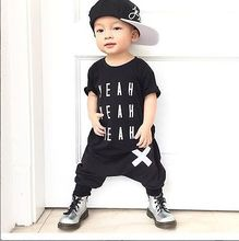 Baby Boys Clothes 2016 New Designer Fashion Kids Clothing Summer Short Sleeve Top TShirt and Harem Pant 2pcs Outfit Children Set