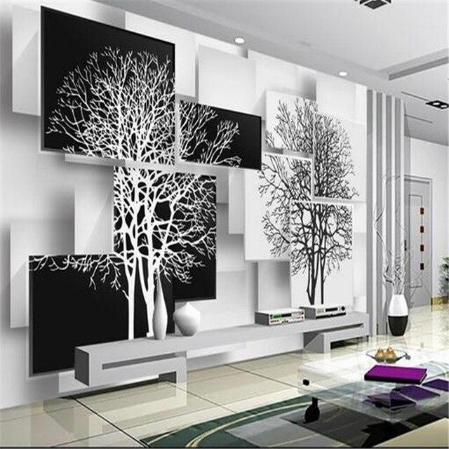 Benutzerdefinierte 3d wandbild tapete einfachen schwarz und weiß ...