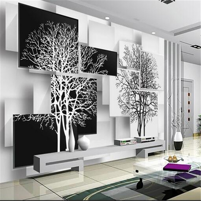 custom 3d mural wallpaper simple black and white tree 3d background wall sitting room sofa study. Black Bedroom Furniture Sets. Home Design Ideas