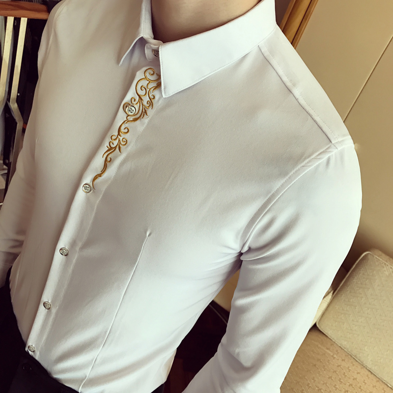 2017 Mens Embroidery Royal Gold Tuxedo Shirts Mens Club Outfits Chemise Homme Mariage Social Slim Fit Tops