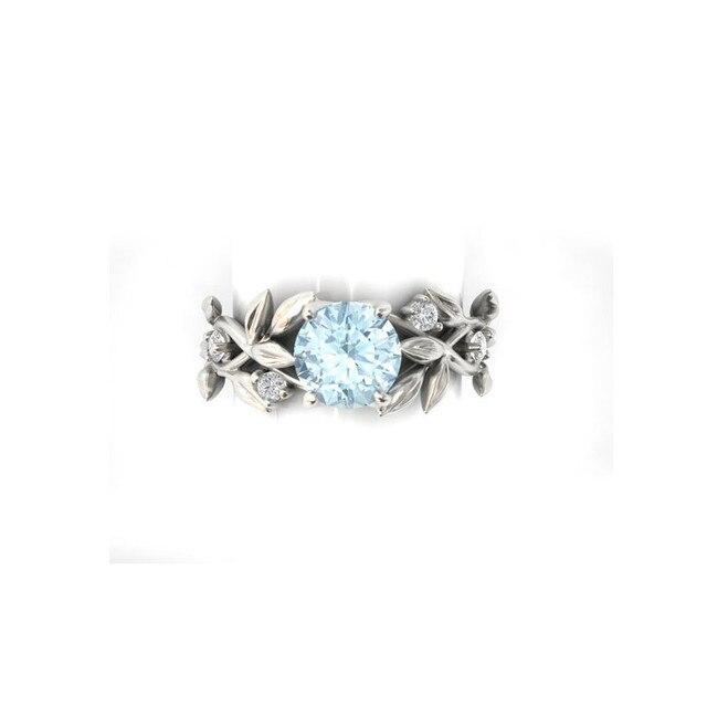 Mode Argent Couleur Cristal Fleur De Vigne Feuille Design Anneaux Pour Les Femmes Femme Anneau Vintage Déclaration Bijoux Amant Cadeau 4
