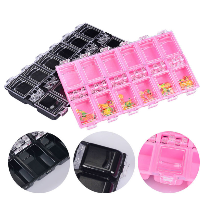 Cosmetics Nail Art Accessories Tavel Special Packing Square Box 12 Grids Multifunctional Portable Dispensing Bottles