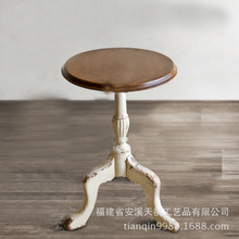 C American casual coffee table antique wood-carved small table round coffee table a few side a few corner-made