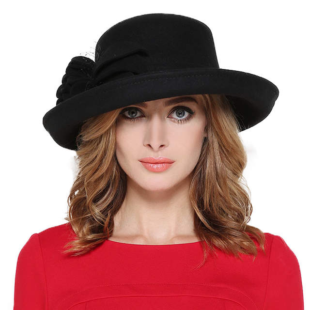 06451e565cd placeholder FS Vintage Large Wide Brim 100% Wool Felt Fedora Hat Winter  Women Flowers Black Khaki