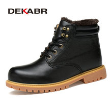 DEKABR 2019 New Men Boots Fashion Hot Men Shoes Winter Furry Waterproof Snow Boot High Quality Lace-up Ankle Warm Men Boots