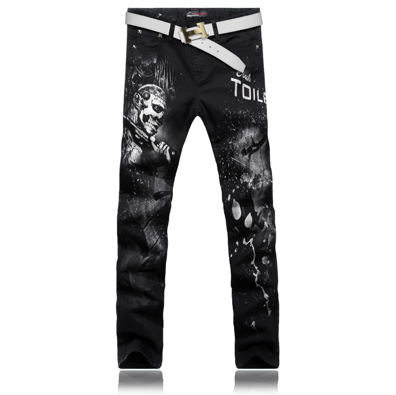 ФОТО Men Designer Straight Stretch Printed Jeans Men's Movie Characters Skull Pattern Print Jeans For Men