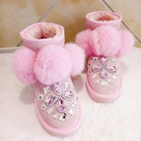 2018 winter custom sweet really hair ball snow boots luxury rhinestone short tube non slip thick bottom warm women's boots.