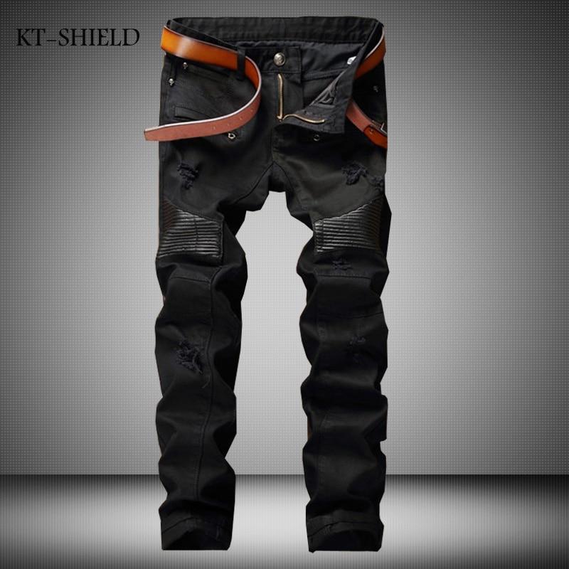ФОТО High Quality Biker Ripped Jeans Men Brand Designer Slim Black Denim pants trousers Motorcycle Cotton Pantalones vaqueros hombre