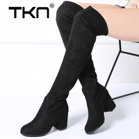 2019 Spring Women Over The Knee Boots High Faux Suede Slim Sexy Snow Boots Thigh High Stocking Long Boots Shoes Woman 7511