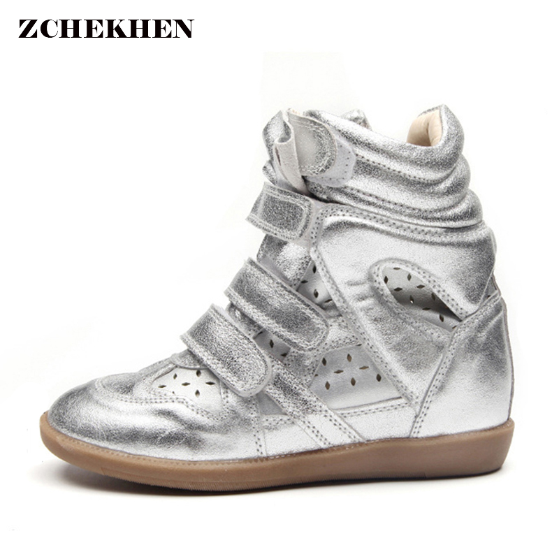 Genuine leather Women Winter Hook Loop Ankle Boots Female Platform Height Increased Sneakers Casual botas mujer gold sliver стоимость