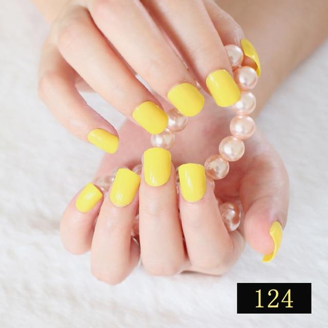 Aliexpress Buy Beautiful False Nails Lemon Yellow Candy Lady