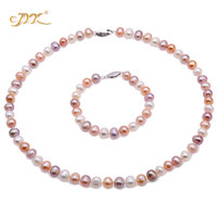 JYX New Year pearl sets women 8 9mm Multi Color Freshwater Cultured Pearl Necklace and Bracelet Set Christmas gift wedding