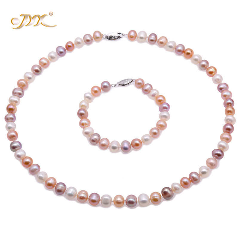 JYX New Year pearl sets women 8-9mm Multi Color Freshwater Cultured Pearl Necklace and Bracelet Set Christmas gift weddingJYX New Year pearl sets women 8-9mm Multi Color Freshwater Cultured Pearl Necklace and Bracelet Set Christmas gift wedding