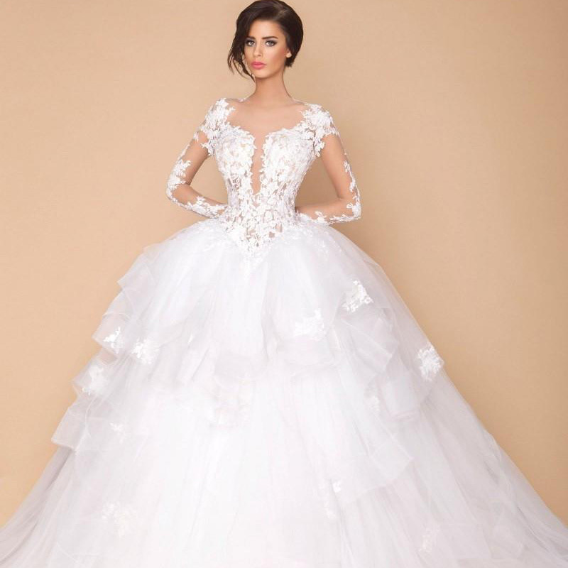 online shop sexy arabic sheer long sleeves designer wedding ball gowns dubai fashion 2015 new lace tiers puffy bridal wedding party dresses aliexpress