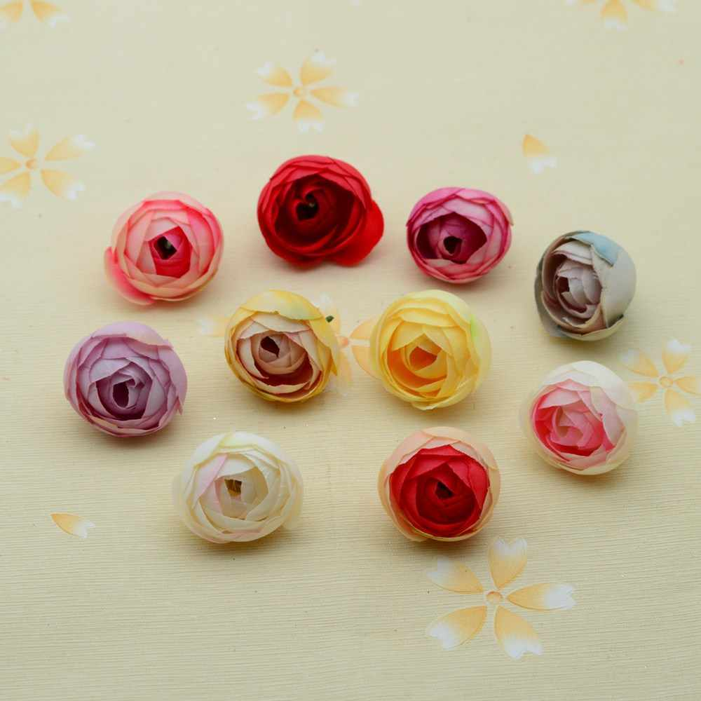 10pcs Fake plastic flower christmas wreath DIY gift home wedding decor accessories artificial plants flowers silk roses tea buds
