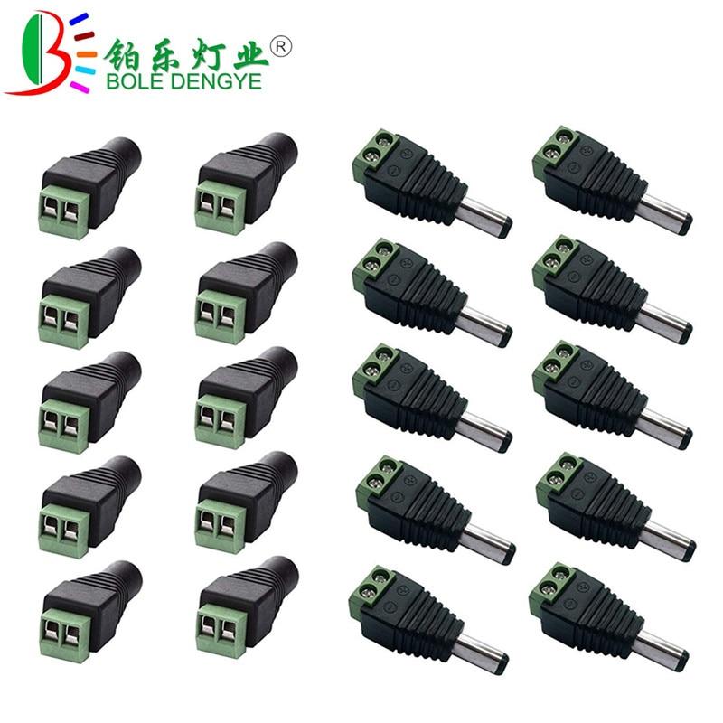 Штекерный разъем постоянного тока 5,5 мм x 2,1 мм, 1 шт., адаптер питания для одноцветной светодиодной ленты 3528 5050 5630 и камеры видеонаблюдения
