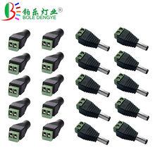 1 pcs DC Conector 5.5mm x 2.1mm Power Jack Feminino Masculino Plug Adapter Para 3528 5050 5630 Único cor LED Strip E Câmera de CCTV