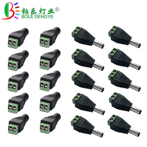 1pcs DC Female Male Connector 5.5mm x 2.1mm Jack Power Plug Adapter For 3528 5050 5630 Single Color LED Strip And CCTV Camera