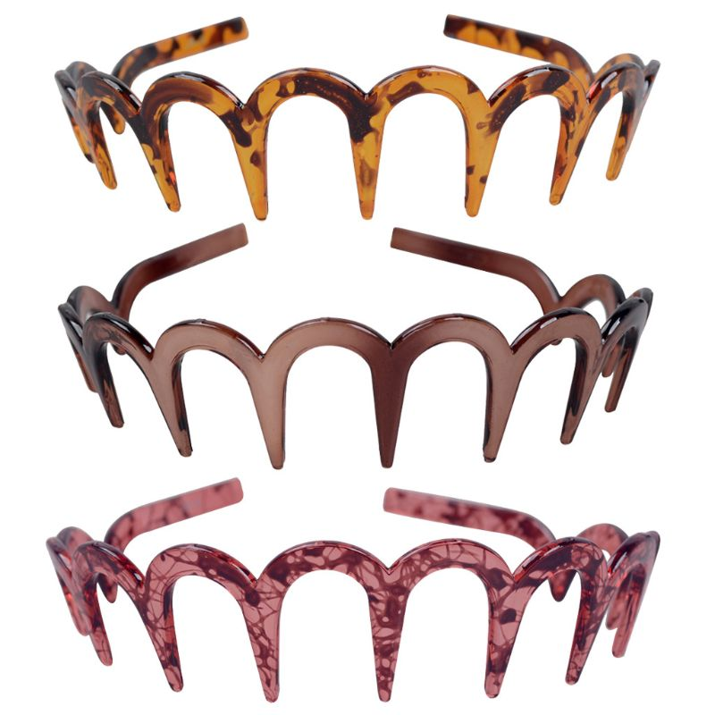 Stable Brown Acrylic Sharks Tooth Hair Comb Headband For Women Hair Jewelry