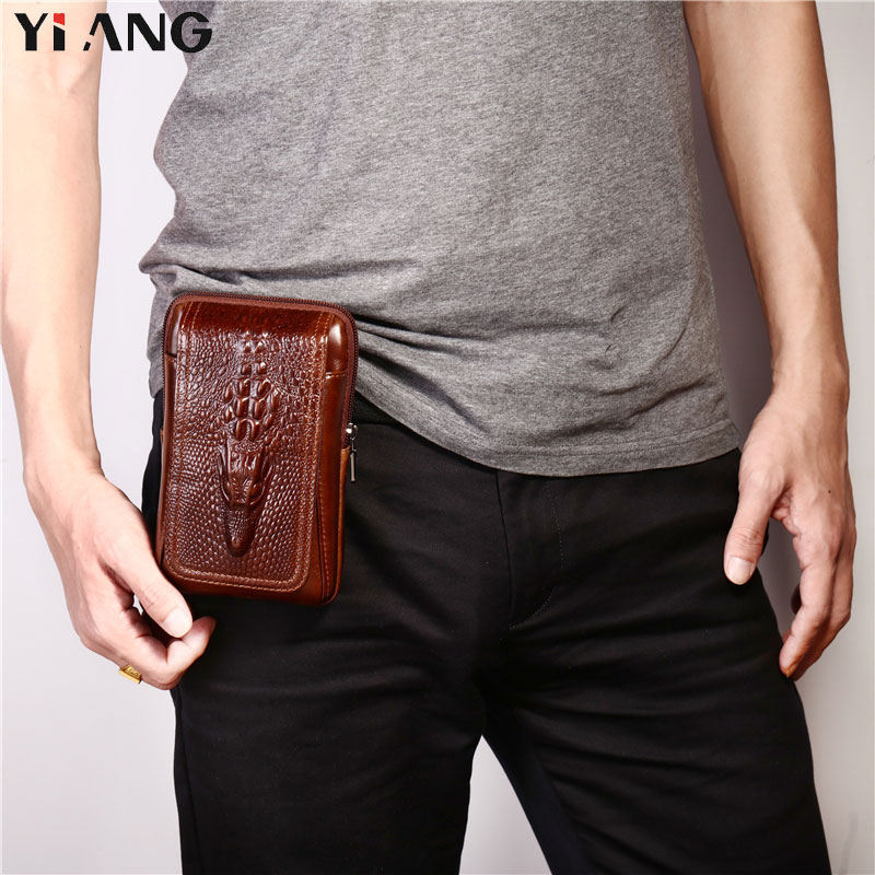 YIANG Men Crocodile Pattern Waist Packs Genuine Leather Cowhide Retro Mobile Phones Bags Belt Clip Bag Fanny Bag Cigarette Pouch in Waist Packs from Luggage Bags