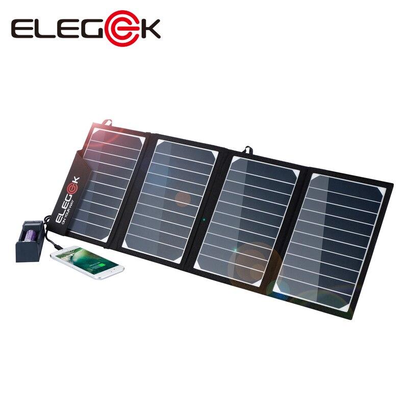 ELEGEEK 22 w 5 v Dual USB Solaire Chargeur de Téléphone Pliant Étanche Panneau Solaire Batterie Chargeur avec Sac De Rangement pour en plein air