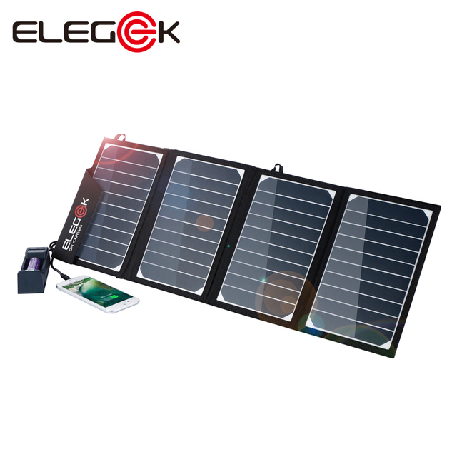 buy online 8b217 2624e US $79.85  ELEGEEK 22W 5V Dual USB Solar Phone Charger Folding Waterproof  Solar Panel Battery Charger with Storage Bag for Outdoor-in Solar Cells  from ...