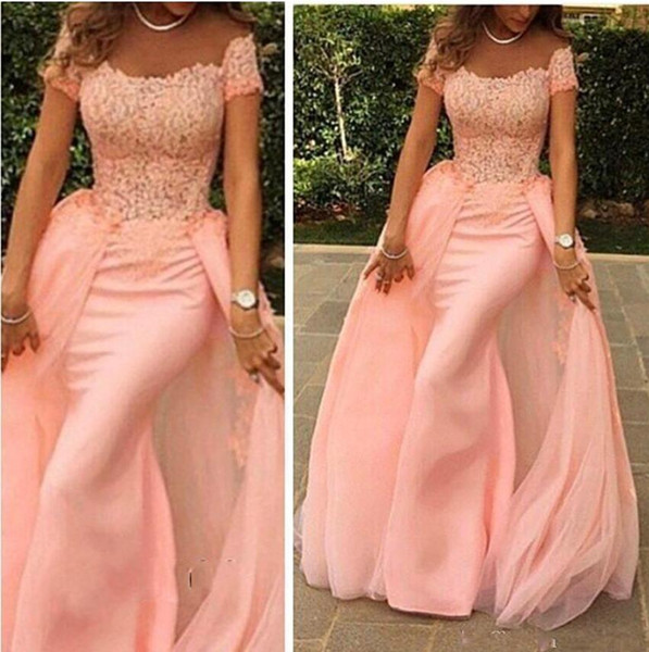 Peach Evening Dresses 2019 Saudi Arabic Dubai Detachable Train Overskirt Robe De Soiree Vestido De Fiesta De Noche Abiye