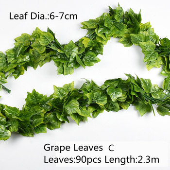 10 Style 1pc Artificial Decoration Vivid Vine Rattan Leaf Vagina Grass Plants Grape Leaves For Home Garden Party Decor B1015 5