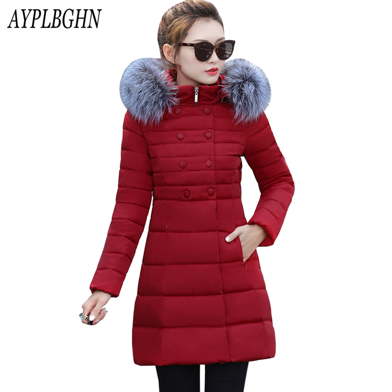 New women jacket and parks cotton long section padded jacket Korean version of loose big yards women's winter fur collar coat 2015the new women s clothing han edition cotton padded clothes coat long big yards more loose tooling cotton padded jacket