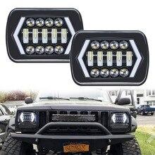 90W 7X6 5X7 LEDลูกศรสีขาวDRL Amber Turnสัญญาณสำหรับรถจี๊ปWrangler YJ Cherokee XJรถบรรทุกH4 LEDสแควร์ไฟหน้า