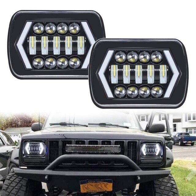90W 7X6 5X7 LED Headlight Arrows White DRL Amber Turn Signal For Jeep Wrangler YJ Cherokee XJ Trucks H4 LED Square Headlights
