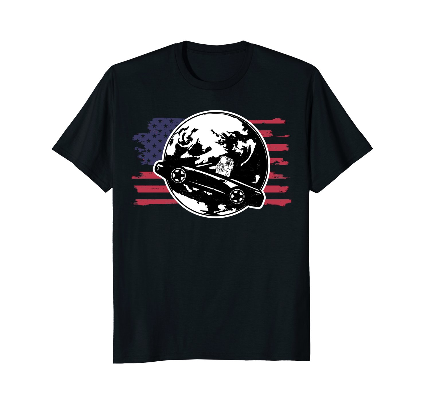 2018 New Cool Tee Shirt American Car In Space Dont Panic Shirt Fashion Cotton T-shirt