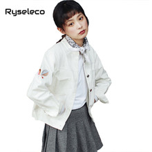 Ryseleco Spring 2018 Stand Collar Student Brief Loose Basic White Jeans Jackets Long Sleeve Geometry Embroidery Denim Tops Coats