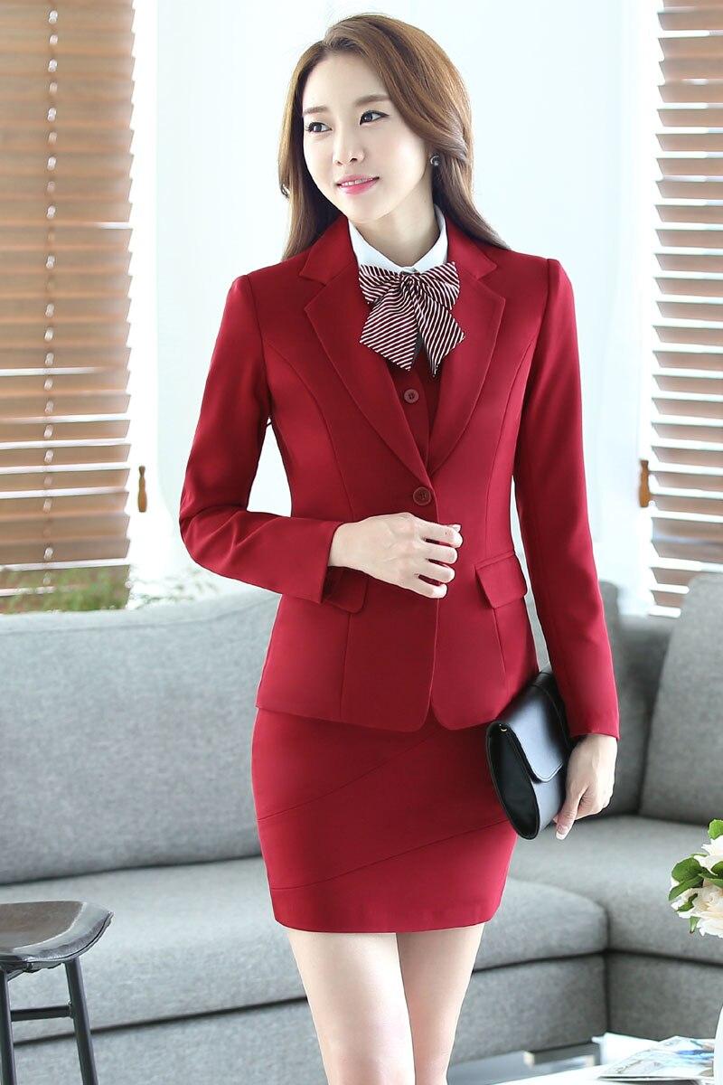 2016 Profissional conjunto Formal Uniforme Design Outono Inverno Ternos de Negócio  3 peças Casacos + Saia + Colete Senhoras Blazers Outfits Conjuntos em ... b5eee0eb0e334