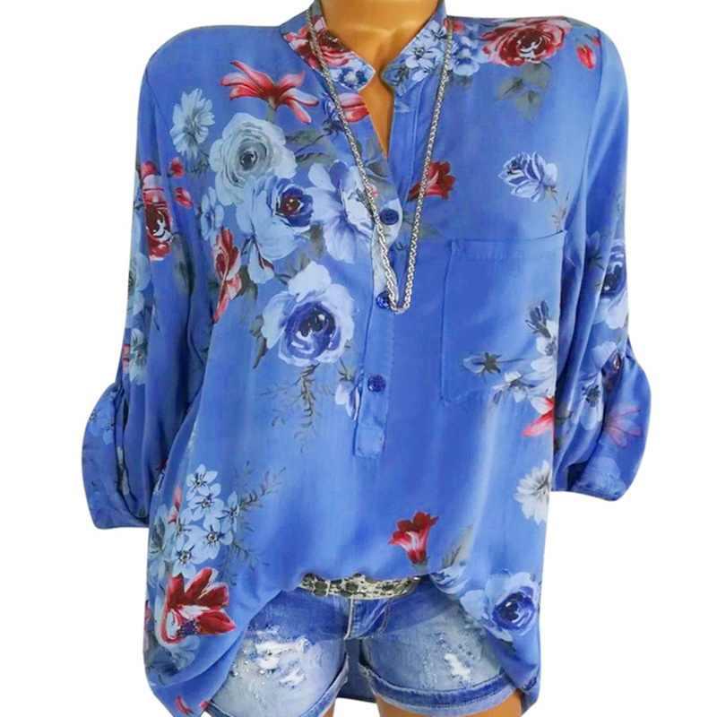 32af0cc69e LASPERAL 2019 Women Summer Autumn Long Sleeve V Neck Women Blouse Floral  Print Irregular Shirts 5XL Plus Size Women Tops Blouse