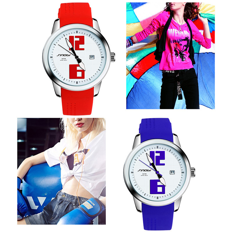 SINOBI Fashion Silicone Watchband Sports Wrist Watch for Ladies