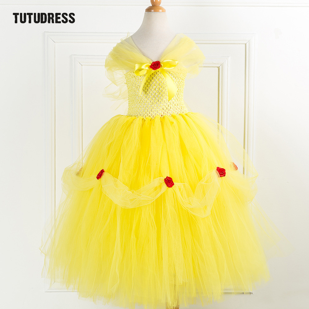 Girls Cosplay Beauty Beast Belle Princess Dress Kids Girl Tulle Flower Party Tutu Dress Children Christmas Halloween Costume